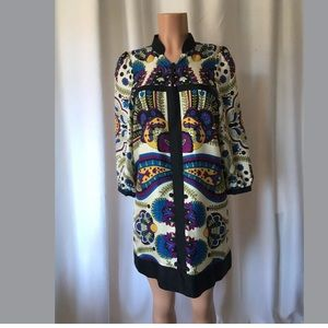 Tibi silk paisley  print mini shift dress Sz 8P